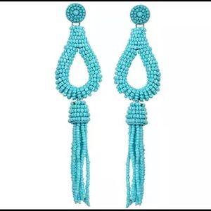 Blue beaded earring tassel